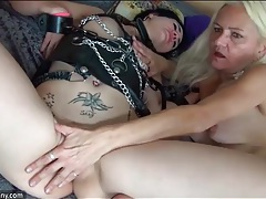 Kinky young hottie masturbates with granny tubes