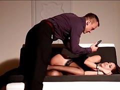 Naughty slut in bondage toyed in the asshole tubes
