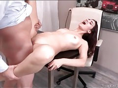 Uncut old dude dick pounds her tight vagina tubes