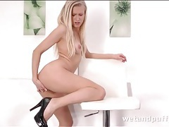 Plump pussy lips girl fucks a toy into her ass tubes