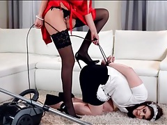 Mistress punishes the maid for doing a bad job tubes