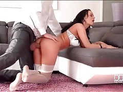Fooling around with a busty pantyhose babe tubes