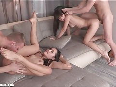 Skinny 18 year olds are hot in a foursome tubes