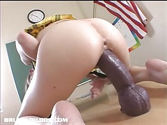 Hailey young stretches her pussy with a monster dildo tubes