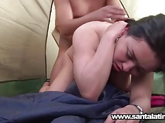 Chubby latin girlfriend fucked in a tent tubes