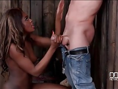 Chained white guy blown by a sexy black girl tubes