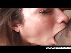 Amber rayne covered in hot cum and spit tubes