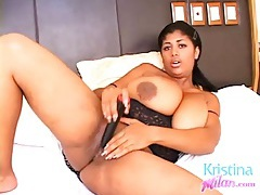 Big girl kristina milan treats her pussy to a toy tubes