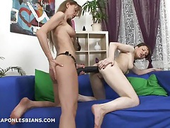 Olga punishes sarah with a huge strapon anal dildo tubes