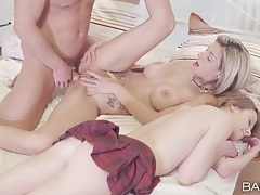 Teen fucked doggystyle as a hot mommy watches tubes