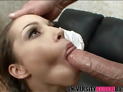 Pretty young lady wants to deepthroat the big dick tubes