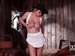 Cowgirl in shiny black boots has great tits tubes