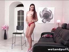 Satin dress and pretty red panties on a tease girl tubes