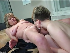 Old and young beauties take turns licking pussy tubes