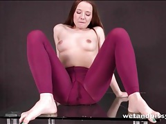 Pretty olivia grace pees in her purple tights tubes