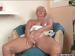 Sensual granny has fun with a little dildo tubes