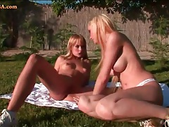 Blondes in sexy makeup lick cunt outdoors tubes