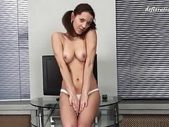 Teen schoolgirl is sexy in a skirt and panties tubes