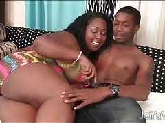Ebony fat girl gently strokes and sucks his dick tubes