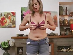 Housewife in a sparkly sweater needs to get naked tubes
