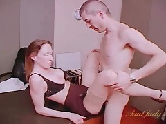 Office affair with a sexy milf in stocking and panties tubes