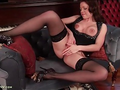 Stockings and heels hottie rubs her cunt tubes