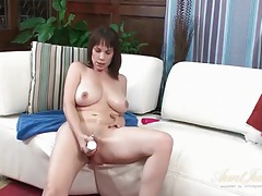 Lubed and horny mom with a big dildo tubes