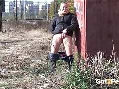 Urination by the railroad tracks with a cutie tubes
