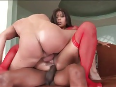 Asian with a huge black dick in her asshole tubes