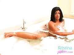 Curvy kristina milan gets in the bathtub tubes