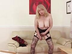 Solo mature blonde cutie fucks a dildo tubes