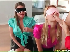 Three hotties in blouses sample a big cock guy tubes