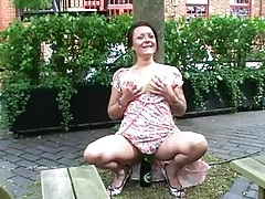 Filthy shaz flashes and squirts in public tubes