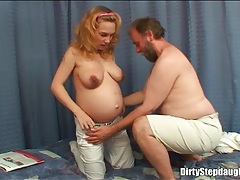 Busty pregnant chick blows an old man tubes