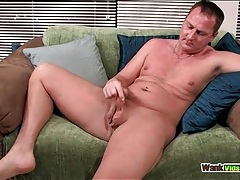 Twink with a small chest tattoo strokes his dick tubes
