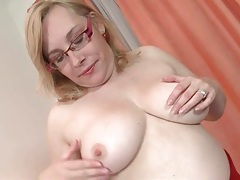 Chubby older gal has a mouth watering shaved cunt tubes