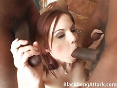 Cute redheaded treated like a cocksucking whore for bbc tubes