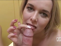 Blowjob in the bathroom stall from a hot blonde tubes