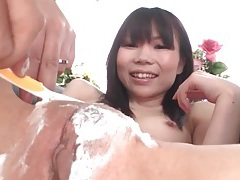 Careful shaving of her japanese pussy and asshole tubes