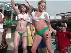 Amateur party girls want to win the wet tee shirt contest tubes