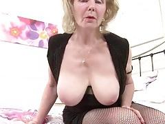 Bawdy grandma in fishnets has sexy big tits tubes