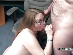 Chubby cocksucker fucked in her bald pussy tubes