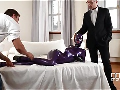 Fetish model latex lucy is fondled by two guys tubes