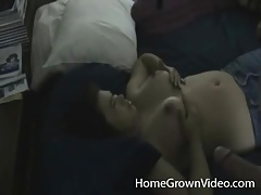 Homemade titjob with a big load on her titties tubes