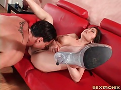 Eaten out asian in high heels fucked by his boner tubes