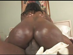 Bubble butt black girl rides his big cock tubes