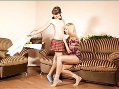 Schoolgirl makes out with her sexy lesbian gf tubes