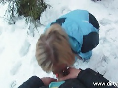 Blonde snow bunny fucked outdoors on a winter day tubes