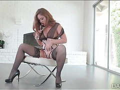 Babe in lingerie goes down on his big black cock tubes