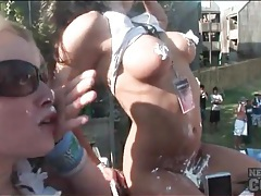 Titty flashing bikini babes love attention at spring break tubes